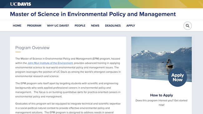 Master of Environmental Policy & Management Site Screenshot